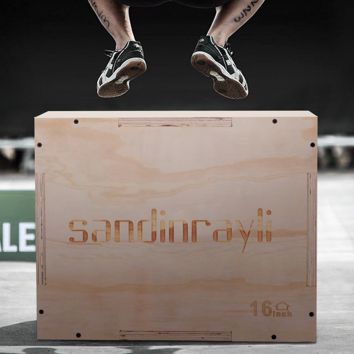 Jaxpety 3 in 1 Wood Plyometric Box for Jump Training 20/14/16 Plyo Exercise Strength