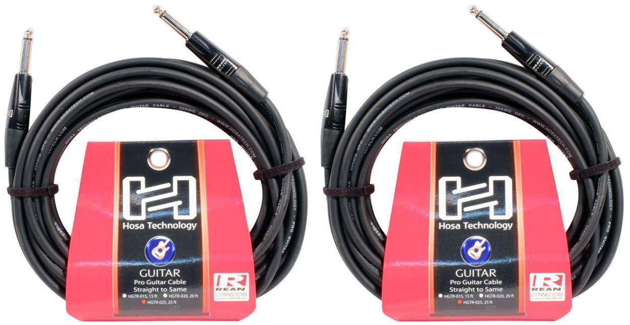 "2 Hosa HGTR-025 25 Foot 1 4"" PRO Guitar Straight Cables by Hosa"