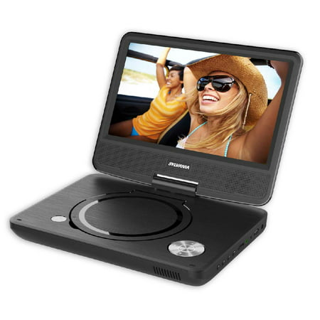 """Sylvania sdvd9070 9"""" swivel-screen portable dvd & media player with Carry Bag/Earphones with 5-hour battery"""