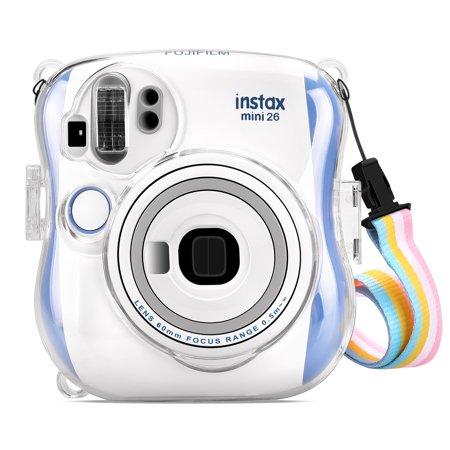 Semi Hard Camera Case - Fintie Protective Clear Case for Fujifilm Instax Mini 25 26 Instant Camera - Crystal Hard PVC Cover w/ Strap, Clear