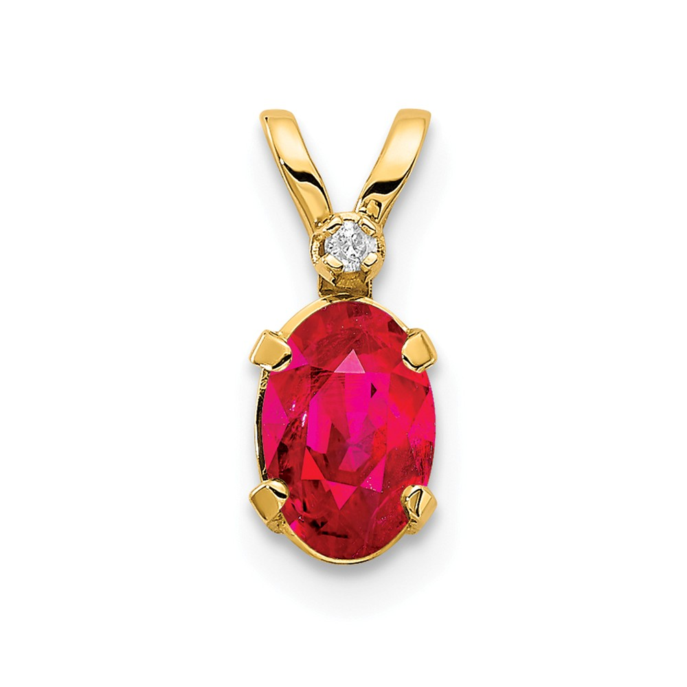 14k Yellow Gold 6x4 Oval Diamond & Ruby Birthstone Pendant