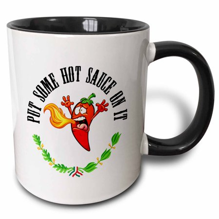 3dRose Funny Hot Pepper Chili breathing fire Put Some Hot Sauce On It - Two Tone Black Mug,