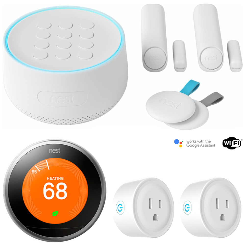 Nest Secure Alarm System Starter Pack (H1500ES) w/ Thermostat Bundle Includes, Nest Learning Thermostat, 3rd Gen (Stainless Steel) and Deco Gear 2 Pack WiFi Smart Plug