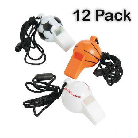 """Plastic Sports Ball Whistles With Lanyard - Pack Of 12 - Whistle Is 2"""", Lanyard Is 24"""", Assorted Sports Balls - For Kids Great Party Favors, Fun, Toy, Gift, Prize For Sports Festivals - By Kidsco - Festival Toys Wholesale"""