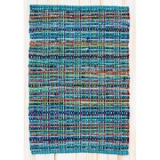 CLM Cross Grain Hand Woven Cotton Blue Area Rug