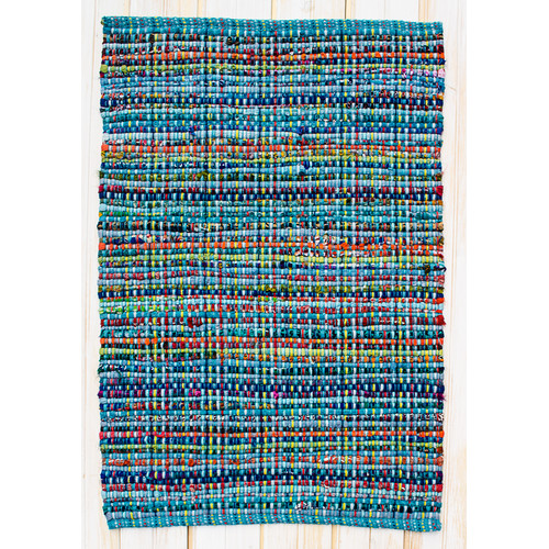 CLM Cross Grain Multi Turquoise Rug
