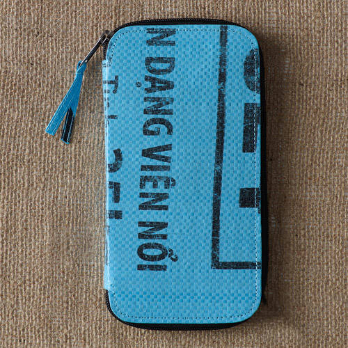 Recycled Rice Bag Double Zip Wallet by Nomi Network for Full Circle Exchange