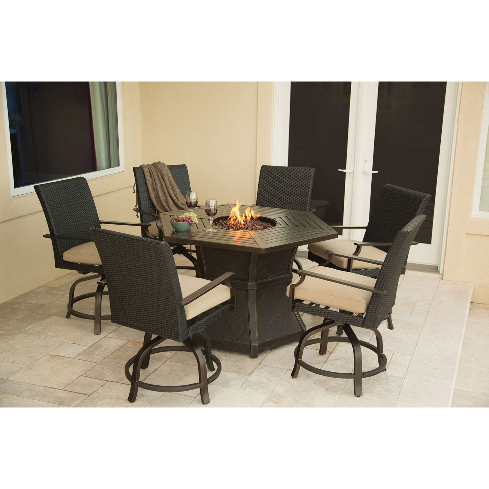 Hanover Outdoor Aspen Creek 7-Piece Fire Pit Dining Set, Natural Oat