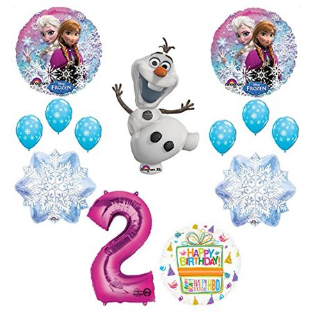 Frozen 2nd Birthday Party Supplies Olaf, Elsa and Anna Balloon Bouquet Decorations Pink #2 - Frozen Birthday Party Decorations