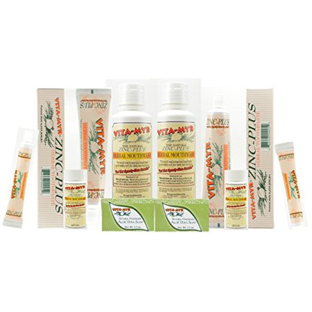 Toothpaste Aloe - Value Package #4 - 2 of Everything! 2ea 4 Oz Zinc Plus Toothpaste, 16 Oz Bottles Mouthwash, Bars Handmade Aloe Vera Natural Soap and More!