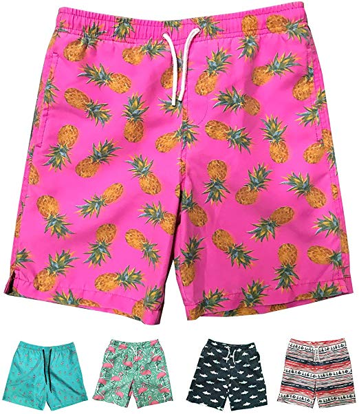 Boys Kids Summer Pineapple Coconut Quick Dry Beach Swim Trunk Novelty Swimsuit Beach Shorts with Mesh Lining