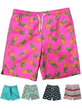 Little Boys Quick Dry Beach Board Shorts Swim Trunk Swimsuit Beach Shorts With Mesh Lining (Pink Pineapple, 2T)