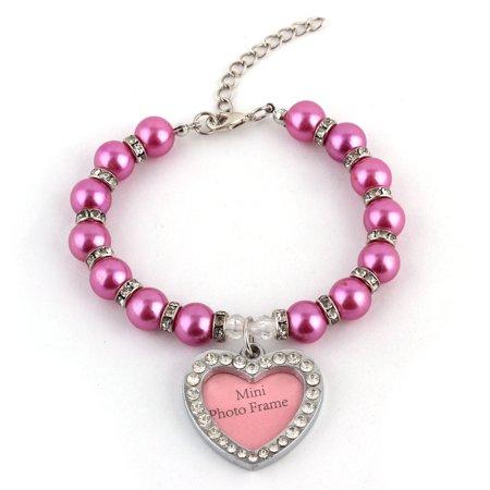 Plastic Purple Necklace - Puppy Plastic Jewelry Pearl Linked Heart Shaped Pendant Decor Necklace Purple