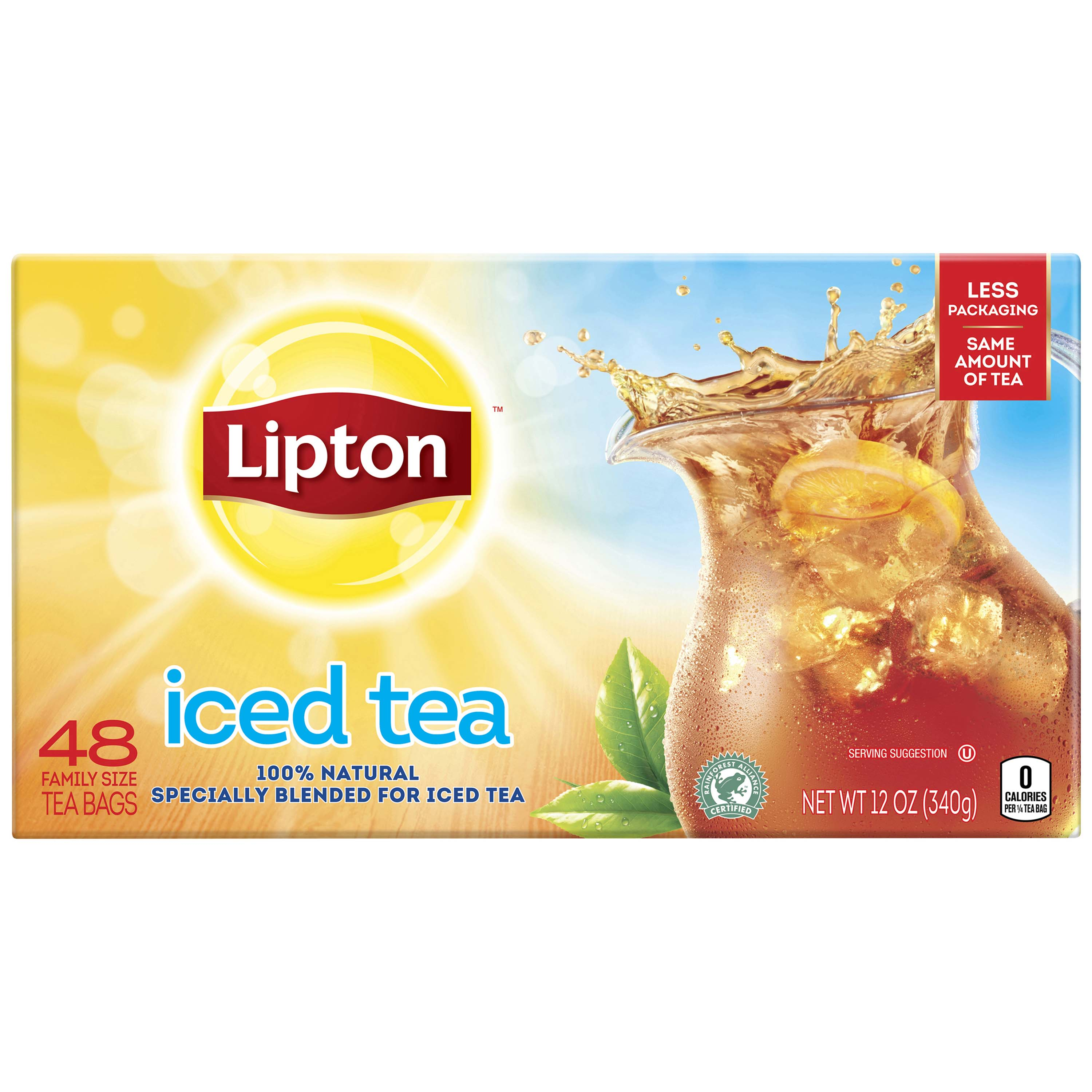 (2 Pack) Lipton Unsweetened Black Family Black Iced Tea Bags, 48 ct