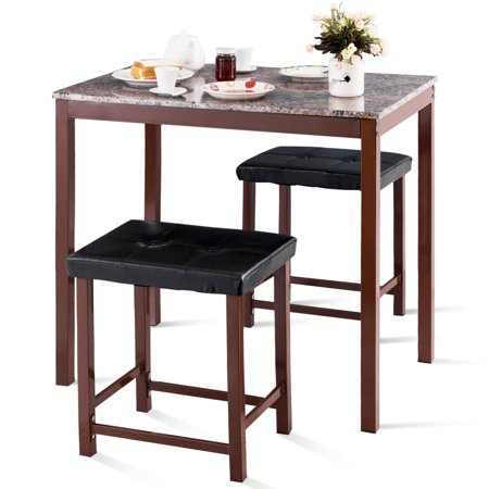 Costway 3 PCS Counter Height Dining Set Faux Marble Table 2 Chairs Kitchen Bar Furniture