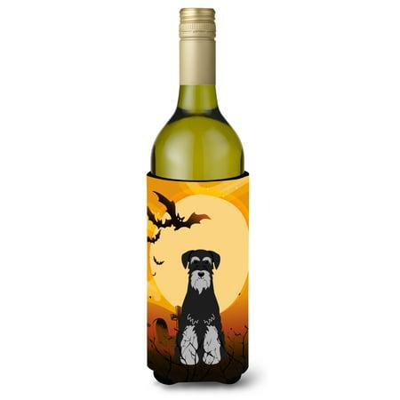 Halloween Standard Schnauzer Black Grey Wine Bottle Beverge Insulator Hugger BB4300LITERK](Painted Wine Bottles Halloween)