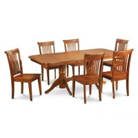 East West Furniture NAPO9-SBR-W 9 Piece Dining Room Set Table With A Leaf and 8 Kitchen Dining Chairs