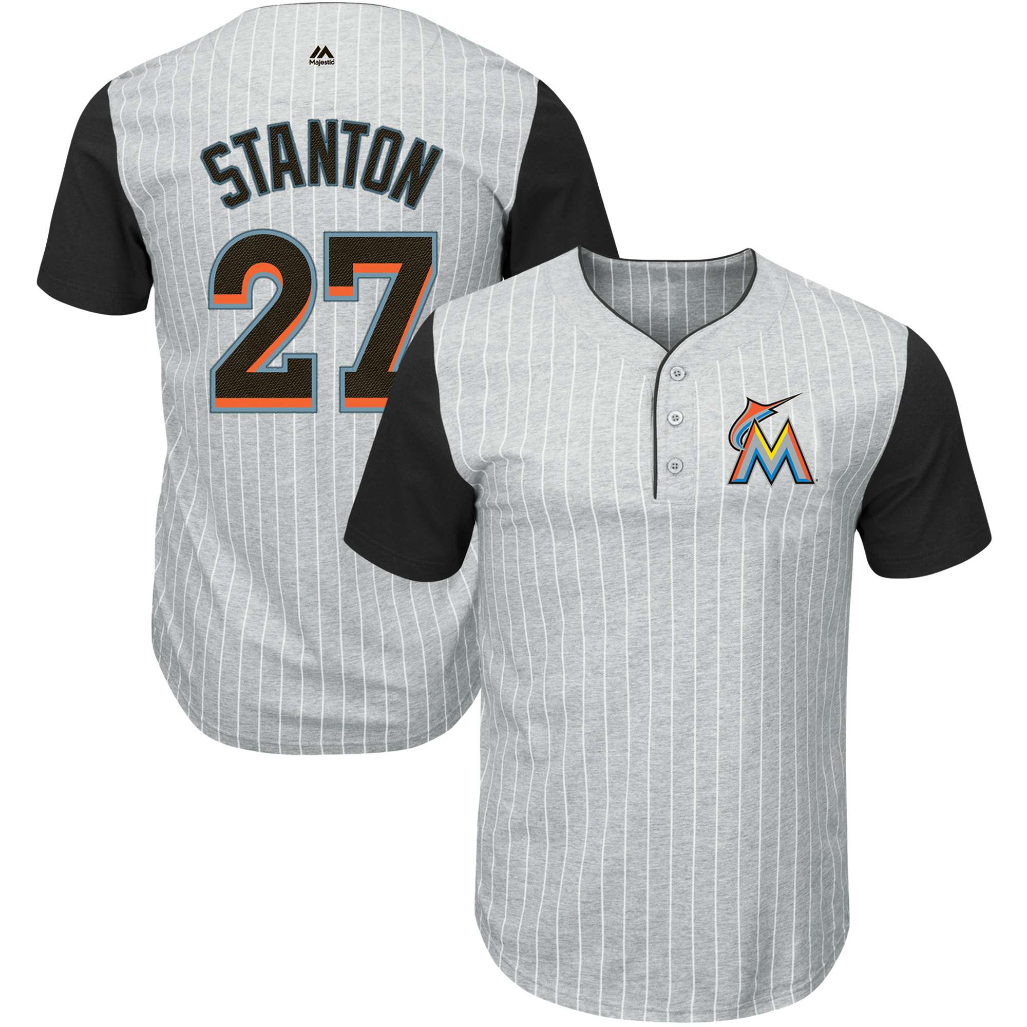 Giancarlo Stanton Miami Marlins Majestic From the Stretch Pinstripe T-Shirt - Gray/Black