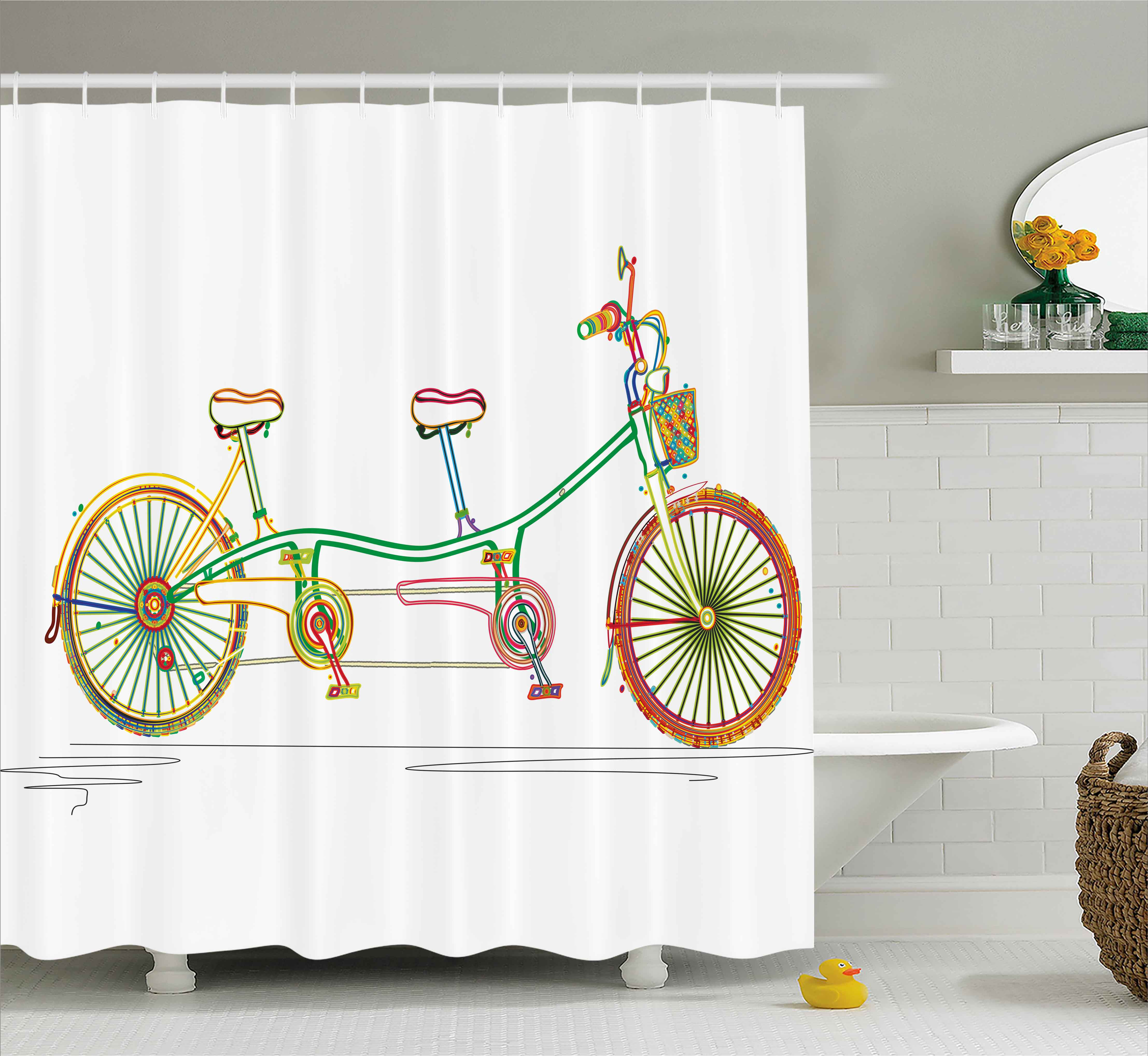 Decorative Shower Curtain, Colorful Tandem Bicycle Design on White Background Pattern Clipart Style Print, Fabric Bathroom Set with Hooks, 69W X 70L Inches, Multicolor, by Ambesonne