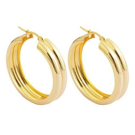 Edforce Womens 18k Gold Plated Double Round Hoop Earrings, (6mm x
