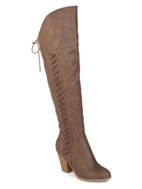 a3b2a0ba4a7 Product Image Women s Distressed Faux Leather Faux Lace-up Over-the-knee  Boots