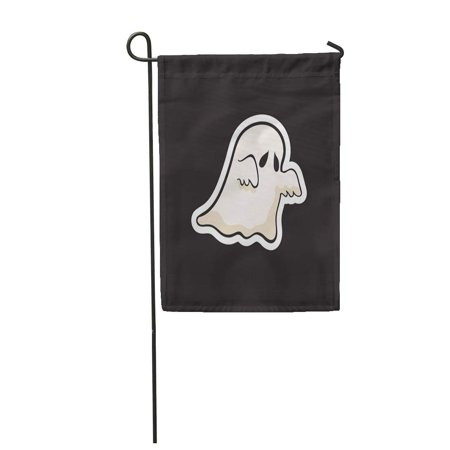 Halloween Cartoon Characters (SIDONKU Black Spooky Halloween Ghost Boo Cartoon Celebration Character Costume Garden Flag Decorative Flag House Banner 12x18)