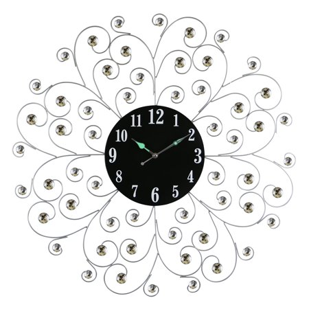 "Circular Metal Wall Clock Silver Spirals w/Clear Gem Accents 27"" Modern Home & Office Wall Decor"