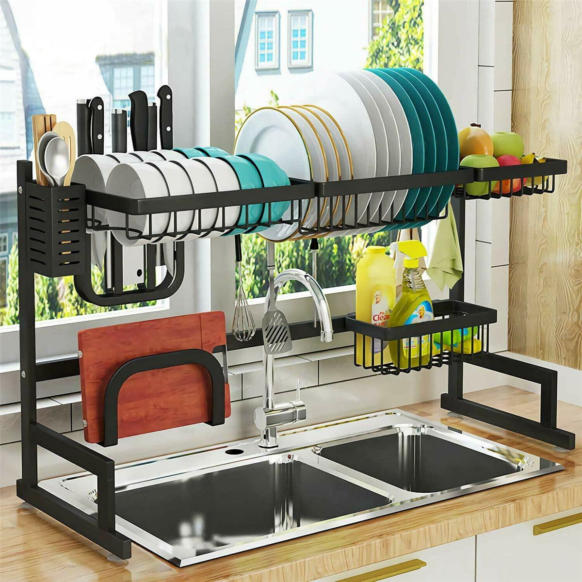 Sink Rack Dish Drainer Stainless Steel Over The Sink Shelf Storage Rack For Kitchen Counter Organization Walmart Com Walmart Com