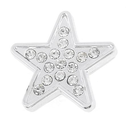 Silver Tone Star Design Rhinestones Adhesive Emblem Sticker Decoration for Car ()