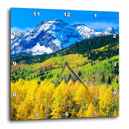 Colorado Rockies Desk Clock - 3dRose USA, Colorado, Rocky Mountains, Autumn in the Rockies., Wall Clock, 13 by 13-inch