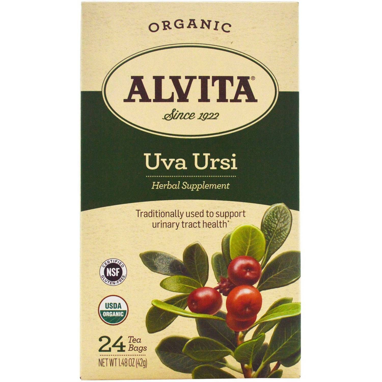 Alvita Organic Uva Ursi Herbal Supplement Tea Bags, 24 count, 1.48 oz, (Pack of 3)