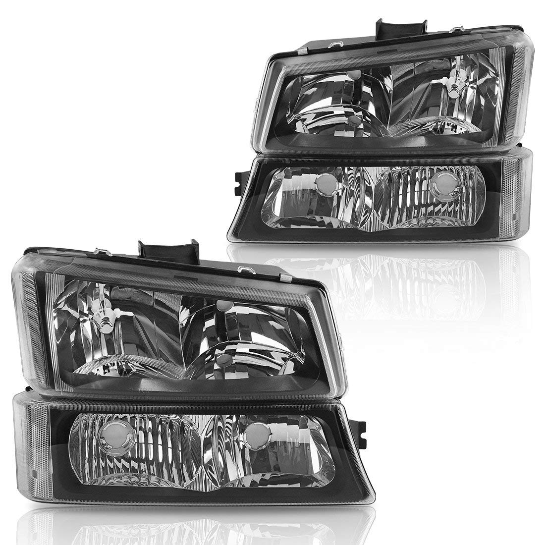 Headlight Assembly kit for 2003 2004 2005 2006 Chevy Avalanche/03-07 Chevrolet Silverado 1500HD/03-06 Chevrolet Silverado 2500HD Headlamp,Black Housing with Tinted Signal Driving Light,2 Year Warranty