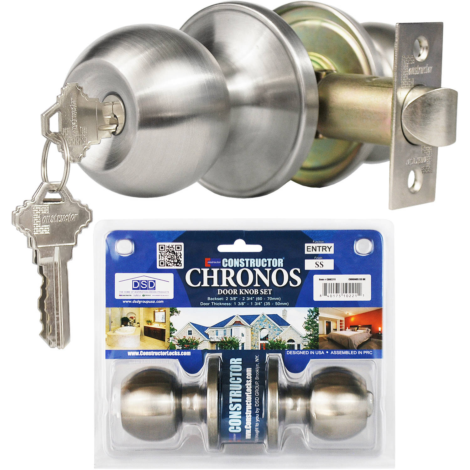 Constructor Chronos Entry Door Knob Handle Lock Set Stainless Steel Finish