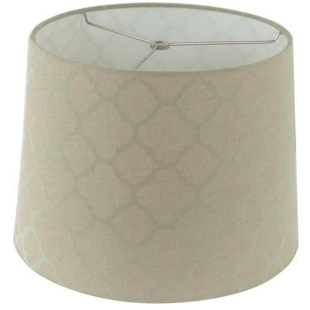 Tan Linen Shade - Design Mode 32-LLSH19683C Ogee Pattern Linen Tan Hardback Empire Shade