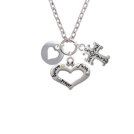 07de9eb643765 Delight Jewelry - Pebble with Heart Cutout Believe Faith Prayer ...
