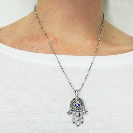 - Hamsa Evil Eye Hand Charm Pendant Chain Necklace Fatima Good Luck Protection New