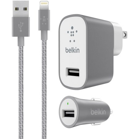Belkin Wall and Car Charger Kit for iPhone 8/7 & iPad - Retail Packaging - Gray