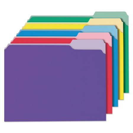 - Universal File Folders, 1/3 Cut Single-Ply Top Tab, Letter, Assorted, 100/Box -UNV10506