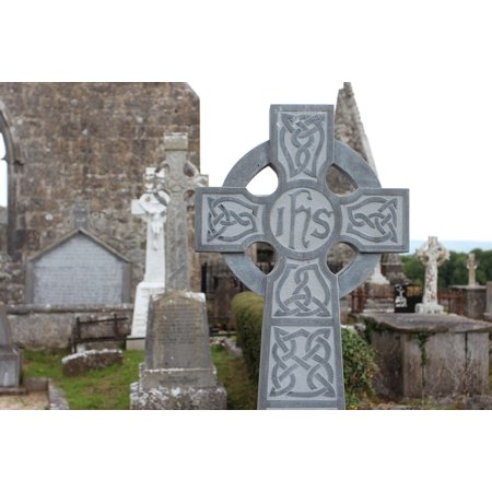 Peel-n-Stick Poster of Cross Ruin Ireland High Cross Cemetery Tombstone Poster 24x16 Adhesive Sticker Poster Print