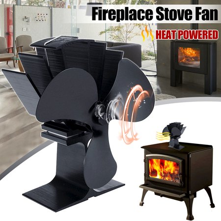 3-Blade Black Aluminum Heat Powered Stove Fan Heater Fireplace For Wood / Log Burner/Fireplace ()