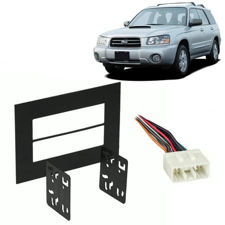 fits subaru forester 98-04 double din stereo harness radio install dash kit  - walmart com