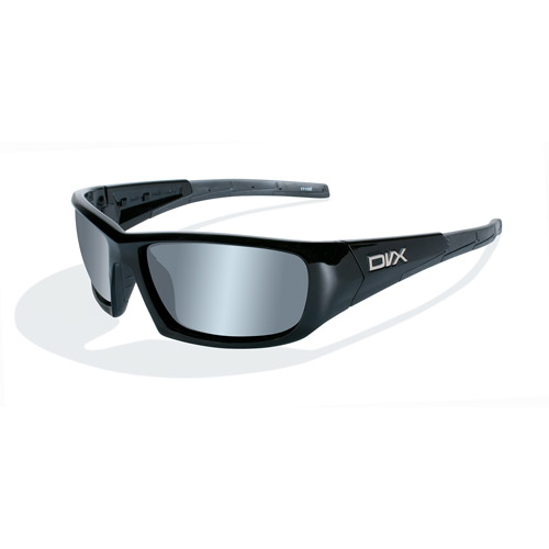 DVX Static Polarized Silver Flash Lens/ Gloss Black Frame Rx-able Sunglasses