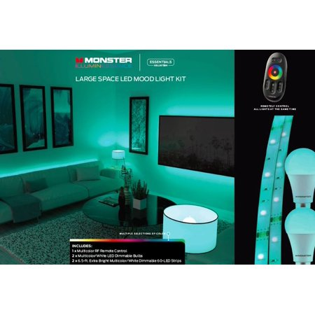 Monster Illuminessence Large E Led Mood Lighting Kit With Premium Rf Touch Remote That Controls All Lights At The Same Time