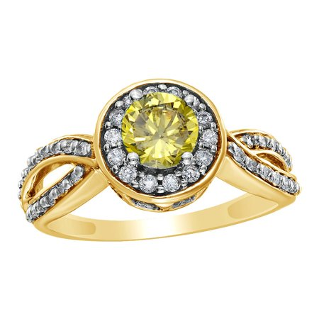 Gold Fancy Stone Ring (White & Yellow Natural Diamond Framed Twisted Shank Fancy Engagement Ring in 14k Yellow Gold (1)