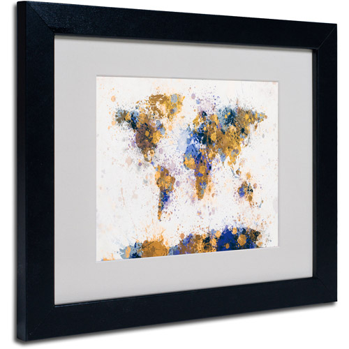 "Trademark Fine Art ""Paint Splashes World Map 2"" Matted Framed by Michael Tompsett"