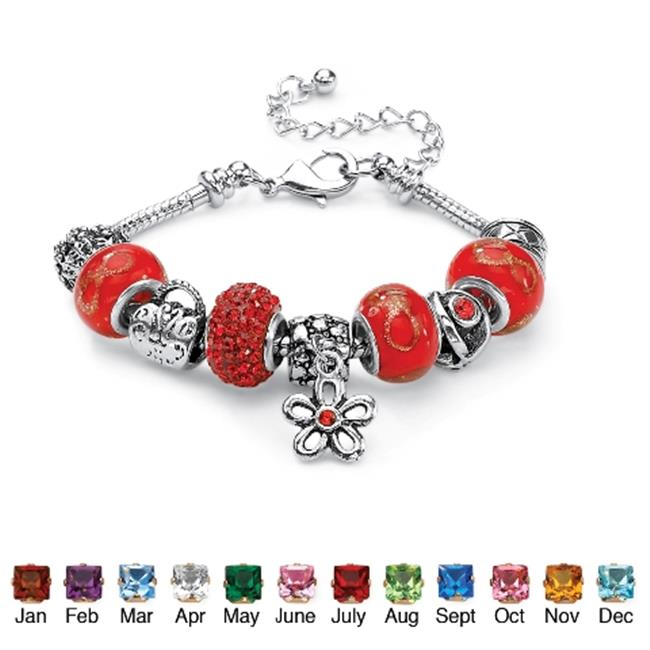PalmBeach Jewelry 5215907 Round Birthstone-Color Crystal Silvertone Metal Bali-Style Beaded Charm and Spacer Bracelet