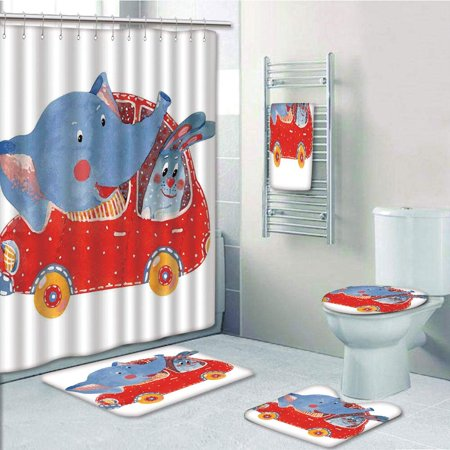 PRTAU Watercolor Sketch of Young Blushed Elephant Hare in Small Car Best Friend Travel 5 Piece Bathroom Set Shower Curtain Bath Towel Bath Rug Contour Mat and Toilet Lid
