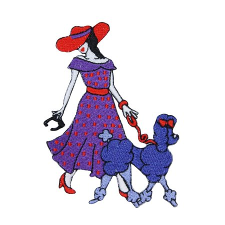 Fancy Lady With Poodle Dog Patch Fashion Pet Walk Embroidered Iron On Applique