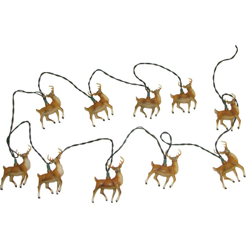 "10/L 4.5X2X4"" PLASTIC REINDEER LIGHT SET W/30X12"" GRN LEAD WIRE & 12V 0.08A CLR INCANDESCENT BULB. INDOOR/OUTDOOR"