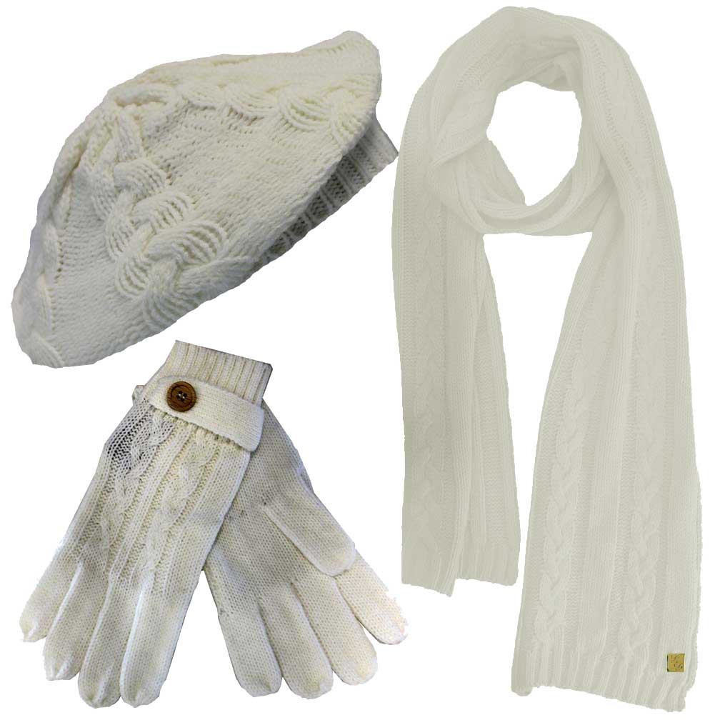 Luxury Divas Cable Knit Beret Hat Scarf & Glove Set